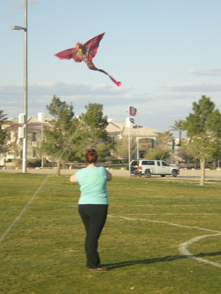 At the park flying kites 3-3-13 Nikki 702-236-1975